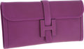 Luxury Accessories:Bags, Hermes Violet Tadelakt Leather Jige Elan H Clutch Bag. ...