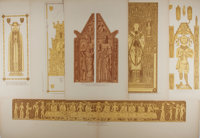 [Lithographs]. Group of Six Church Decorative Lithographs. Nd. Bright color. One fold out, measures 39.5 x 12.25 inch