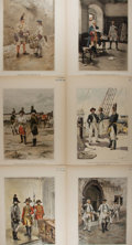 Art:Illustration Art - Mainstream, [Lithographs]. Group of Six Chromolithographs Depicting MilitaryApparel. Nd. Color well preserved. 12.5 x 16.5 inches. Subt...