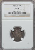 Bust Dimes: , 1823/2 10C Small Es VG8 NGC. NGC Census: (3/95). PCGS Population(1/77). Mintage: 440,000. Numismedia Wsl. Price for proble...