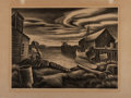 "Art:Illustration Art - Mainstream, [WPA]. Carlos Anderson. Lithographic print entitled HomePort ca. 1930's. 16"" x 12"". Moderate toning. Two sunne..."