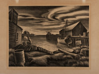 """[WPA]. Carlos Anderson. Lithographic print entitled Home Port ca. 1930's. 16"""" x 12"""""""