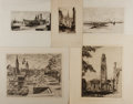 Art:Illustration Art - Mainstream, [Etchings]. Group of Five Original Etchings. Artists unknown, ca.1920's, 1930's. Images of Notre Dame, Westminster Abby, Pa...