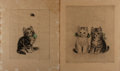 Art:Illustration Art - Mainstream, [Engraving]. Two Kitten Engravings, nd. German in origin. 11.5 x13.75 inches. Moderate toning. Staining to edges on one. Fi...