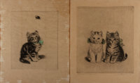 [Engraving]. Two Kitten Engravings, nd. German in origin. 11.5 x 13.75 inches. Moderate toning. Staining to edges on