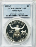 Modern Issues: , 1996-P $1 Olympic/Paralympics Silver Dollar PR69 Deep Cameo PCGS.PCGS Population (1357/11). NGC Census: (1210/6). Numisme...
