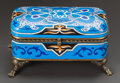 Decorative Arts, Continental, A BLUE PORCELAIN ENAMEL AND GILT BRONZE MOUNTED BOX. Early 20thcentury. Marks: LM & Co, H. 4 x 8-1/4 x 4-3/4 inches(10...