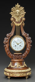 Decorative Arts, French, A FRENCH ESCALIER DE CRISTAL CARVED WOOD AND GILT BRONZE MOUNTEDLYRE-FORM CLOCK. 19th century. Marks: Robin Aaria (to d...