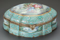 Ceramics & Porcelain, A SÈVRES-STYLE PORCELAIN LOZENGE-FORM PAINTED AND GILT BRONZE MOUNTED TABLE CASKET. Late 19th/early 20th century. Marks to u...