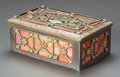 Decorative Arts, French, AN ART NOUVEAU ENAMEL AND SLAG GLASS TABLE CASKET. Circa 1910.2-3/4 x 7-1/4 x 4-5/8 inches (7.0 x 18.4 x 11.7 cm). ...