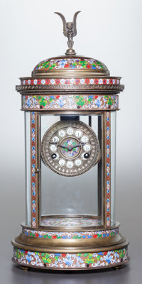 A FRENCH CHAMPLEVÉ ENAMEL AND GILT BRONZE GLAZED COLUMNAR MANTLE CLOCK Late 19th century Marks: MADE IN FRA