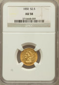 Liberty Quarter Eagles: , 1850 $2 1/2 AU58 NGC. NGC Census: (145/109). PCGS Population(18/55). Mintage: 252,923. Numismedia Wsl. Price for problem f...