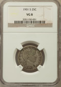 Barber Quarters: , 1901-S 25C VG8 NGC. NGC Census: (16/39). PCGS Population (57/107).Mintage: 72,664. Numismedia Wsl. Price for problem free ...