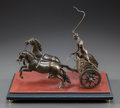 Bronze, A PATINATED BRONZE CHARIOT ON A ROUGE MARBLE BASE. 20th century.7-1/2 x 13-1/4 x 6-3/4 inches (19.1 x 33.7 x 17.1 cm). ...