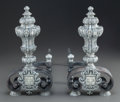 Decorative Arts, Continental, A PAIR OF BAROQUE-STYLE SILVERED BRONZE ARMORIAL ANDIRONS . Early20th century. 15-1/2 x 7-5/8 x 17-1/4 inches (39.4 x 19.4 ...(Total: 2 Items)