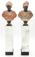 Decorative Arts, Continental:Other , A PAIR OF POLYCHROMED CAST BRONZE BLACKAMOOR BUSTS WITH MIRROREDSTANDS. 19th century. 32 inches high (81.3 cm) (tallest bus...(Total: 4 Items)