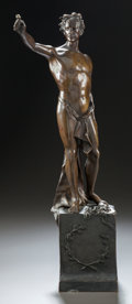 Bronze:European, A PATINATED BRONZE FIGURE OF A DRAPED MALE. 20th century. Marks:signed indistinctly. 19 inches high (48.3 cm). ...