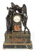 Paintings, AN EMPIRE-STYLE GREEN MARBLE, PATINATED AND GILT BRONZE FIGURAL MANTLE CLOCK: CUPID AND PSYCHE. Early 20th century. ...