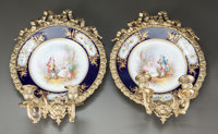 A PAIR OF SÈVRES-STYLE PORCELAIN PLATES MOUNTED AS TWO-LIGHT SCONCES Circa 1900 Marks: (pseudo Sèvres mark...