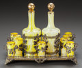 Decorative Arts, American, A TWELVE-PIECE GLASS AND GILT BRONZE MOUNTED SPIRIT SET WITH TRAY. First quarter 20th century. 7-3/4 inches high (19.7 cm) (... (Total: 12 Items)