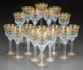 Paintings, A SET OF SEVENTEEN VAL ST. LAMBERT PARCEL-GILT GLASS WINE STEMS. Mid-20th century. 7-1/2 inches high (19.1 cm). ... (Total: 17 Items)