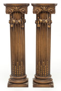 Decorative Arts, Continental:Other , A PAIR OF NEOCLASSICAL-STYLE PAINTED WOOD AND PARCEL-GILT COLUMNARPEDESTALS . 20th century. 43-1/2 inches high (110.5 cm). ...(Total: 2 Items)