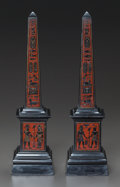 Decorative Arts, Continental, A PAIR OF EGYPTIAN-STYLE MARBLE OBELISKS. 20th century. 15-1/2inches high (39.4 cm). ... (Total: 2 Items)