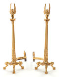 Decorative Arts, Continental:Other , A PAIR OF GILT BRONZE FIGURAL ANDIRONS . Early 20th century. 29-1/2inches high (74.9 cm). ... (Total: 2 Items)