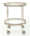 Furniture , A SILVER-PLATED AND GLASS TEA CART ON CASTORS. Circa 1910. 30 inches high x 26-3/4 inches wide (76.2 x 67.9 cm). ...