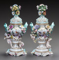 Ceramics & Porcelain, A PAIR OF GERMAN PORCELAIN COVERED POTPOURRI VASES. Circa 1860. Marks: spurious Meissen marks. 12-1/8 inches high (30.8 cm)... (Total: 2 Items)