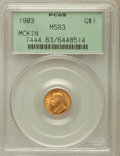 Commemorative Gold: , 1903 G$1 Louisiana Purchase/McKinley MS63 PCGS. PCGS Population(558/1960). NGC Census: (274/1398). Mintage: 17,500. Numism...