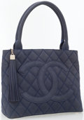Luxury Accessories:Bags, Chanel Quilted Blue Nubuck Leather Tote Bag with Tassle. ...