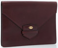Luxury Accessories:Bags, Celine Burgundy Leather Envelope Clutch Bag. ...