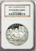 Modern Issues, (2)2007-P $1 Jamestown, PR70 Ultra Cameo NGC. Census: 5519 in 70(6/13).... (Total: 2 coins)