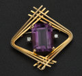 Estate Jewelry:Brooches - Pins, Amethyst, Diamond, Gold Brooch. ...