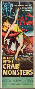 "Movie Posters:Science Fiction, Attack of the Crab Monsters (Allied Artists, 1957). Insert (14"" X36""). Science Fiction.. ..."