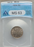 Liberty Nickels: , 1904 5C MS63 ANACS. NGC Census: (119/449). PCGS Population(171/622). Mintage: 21,404,984. Numismedia Wsl. Price for proble...