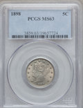 Liberty Nickels, 1898 5C MS63 PCGS. PCGS Population (97/307). NGC Census: (80/242).Mintage: 12,532,087. Numismedia Wsl. Price for problem f...