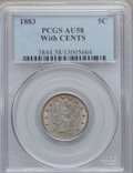 Liberty Nickels: , 1883 5C With Cents AU58 PCGS. PCGS Population (134/959). NGCCensus: (56/796). Mintage: 16,032,983. Numismedia Wsl. Price f...