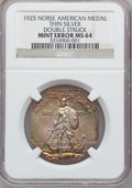 Errors, 1925 Medal Norse Thin Silver Planchet -- Double Struck -- MS64 NGC....