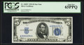 Small Size:Silver Certificates, Fr. 1650* $5 1934 Silver Certificate. PCGS Gem New 65PPQ.. ...