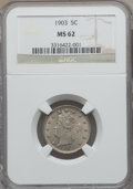 Liberty Nickels: , 1903 5C MS62 NGC. NGC Census: (71/640). PCGS Population (67/900).Mintage: 28,006,724. Numismedia Wsl. Price for problem fr...