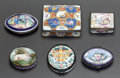 Decorative Arts, Continental, SIX ENGLISH ENAMELED METAL SNUFF BOXES. Early 19th century. 1-1/4 x2-1/2 x 2 inches (3.2 x 6.4 x 5.1 cm). ... (Total: 6 Items)