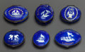 Decorative Arts, British, SIX ENGLISH BLUE ENAMELED METAL PATCH BOXES WITH MOTTOS AND VERSES.Early 19th century. 1 inch high x 1-1/2 inches wide (2.... (Total:6 Items)