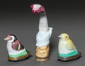 Ceramics & Porcelain, TWO ENGLISH ENAMELED METAL BIRD PATCH BOXES AND AN ARM-FORM NEEDLE CASE. Early 19th century. 3-1/2 inches long (8.9 cm) (arm... (Total: 3 Items)