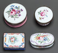 Decorative Arts, Continental, FOUR ENGLISH ENAMELED METAL FLORAL SNUFF BOXES. 19th century. 1-1/8inches high x 2-3/8 inches diameter (2.9 x 6.0 cm) (larg... (Total:4 Items)