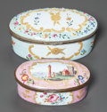 Ceramics & Porcelain, British, TWO ENGLISH ENAMELED METAL OVAL LIDDED BOXES. 19th century. 1-5/8 inches high x 3-5/8 inches diameter (4.1 x 9.2 cm) (larger... (Total: 2 Items)