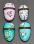 Ceramics & Porcelain, FOUR OVOID-FORM ENAMELED METAL NUTMEG GRINDERS. 19th century. 2 inches high (5.1 cm). ... (Total: 4 Items)