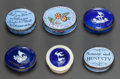 Decorative Arts, British, SIX ENGLISH ENAMELED METAL BLUE PATCH BOXES WITH MOTTOS AND VERSES. 19th century . 1 inch high x 1-3/4 inches wide (2.5 x 4.... (Total: 6 Items)