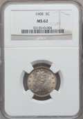 Liberty Nickels: , 1908 5C MS62 NGC. NGC Census: (67/380). PCGS Population (74/472).Mintage: 22,686,176. Numismedia Wsl. Price for problem fr...